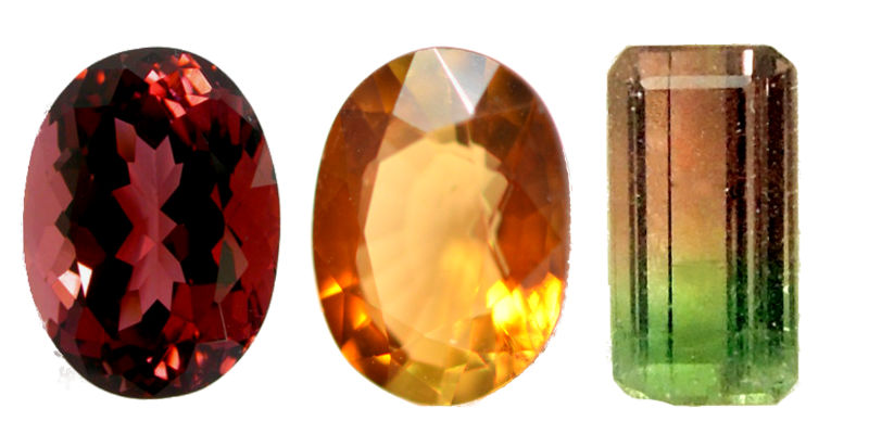 Illustrations de tourmaline marron, tourmaline orange et tourmaline melon d'eau